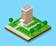 Isometric appartment house. Picture of appartent house with footpaths and trees, low poly town building, isometric icon or infographic element for city map Royalty Free Stock Image
