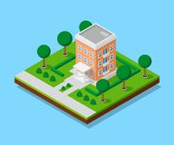 Isometric appartment house. Picture of appartent house with footpaths and trees, low poly town building, isometric icon or infographic element for city map Stock Photography