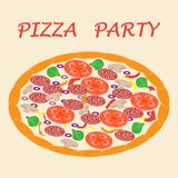 Picture with appetizing pizza. Picture with appetizing pizza with inscriptions pizza party royalty free illustration