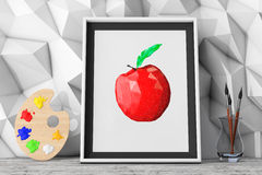 Picture of Apple with Paintbrushes and Pallette in front of Low. Polygon Decorative Wall extreme closeup. 3d Rendering Stock Photos
