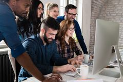 Picture of architects working together in office. Picture of architects working together in modern office stock photos