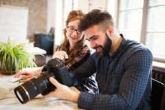 Picture of architects working together in office stock photos