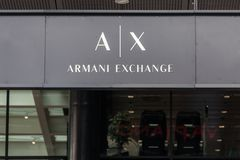 Armani Exchange logo on their main store in Belgrade Serbia. Armani Exchange is the store brand of the creator Giorgio Armani. Picture of the Armani Exchange royalty free stock photo