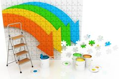 Picture with arrows and step-ladder with paints Royalty Free Stock Photo