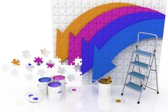Picture with arrows and step-ladder with paints Royalty Free Stock Photography
