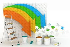 Picture with arrows and step-ladder with paints Stock Photography
