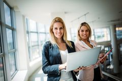 Picture of attractive sales workers on meeting in office royalty free stock images