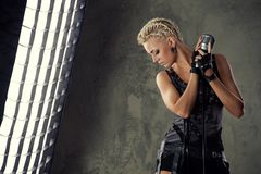 Picture of an attractive steam punk singer. royalty free stock photos