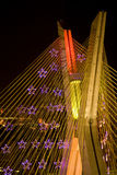 Awesome bridge lit up at night Stock Image