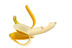 Picture of banana. Illustration of realistic opened banana on white background Stock Photography