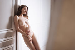 Picture of bare sexual woman posing at camera Stock Images