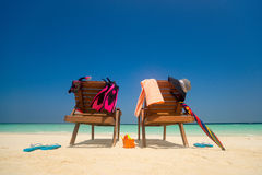 Picture of Beach lounger on the tropical beach, vacation. Travel Royalty Free Stock Photography