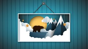 Picture is a bear in the north among the mountains. Vector eps 10 Royalty Free Stock Photo