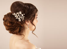 Picture of beautiful bride hairstyle Stock Photos
