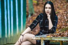 Picture with a beautiful brunette in the autumn forest near to a royalty free stock images