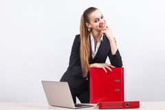 Picture of beautiful business lady holding document folders Royalty Free Stock Photo