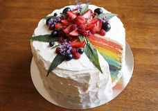 The picture of beautiful colourful cake like a rainbow Stock Photography