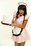 Expressive retro waitress. Picture of beautiful expressive retro waitress with tray and blank card stock photography