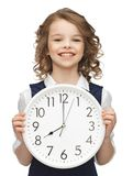 Girl with big clock. Picture of beautiful girl with big clock Stock Photos