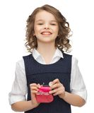 Girl with coin purse Stock Photography