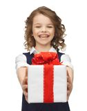 Girl with gift box Stock Photo