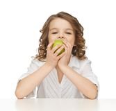 Girl with green apple. Picture of beautiful girl with green apple Stock Photo