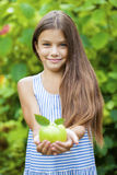 Picture of beautiful girl with green apple Stock Photography