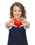 Girl with small heart Stock Photos