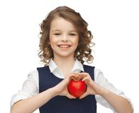 Girl with small heart Royalty Free Stock Photo