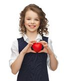 Girl with small heart Stock Images