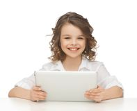 Girl with tablet pc. Picture of beautiful girl with tablet pc Stock Image