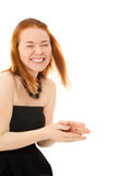 Picture of beautiful laughing ginger-haired woman Stock Photography