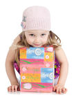 Picture of beautiful little girl with gift box Royalty Free Stock Images
