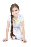 Picture of beautiful little girl sitting on floor Stock Images