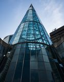 Beautiful modern architecture on this curved glass building royalty free stock photos