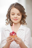 Girl with cupcake Royalty Free Stock Images