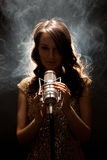 Picture of beautiful singer with studio microphone Stock Image