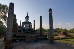 The white stone Buddha of Wat Maha That stock image
