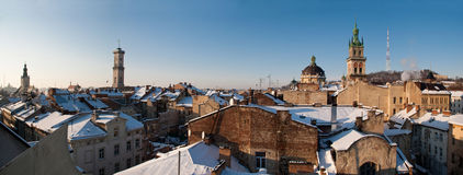 Picture of beautiful winter cityscape in center of Lvov city from height. Royalty Free Stock Image