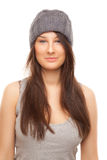 Picture of beautiful woman in grey hat smiling Stock Photos