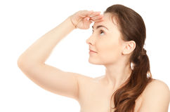 Picture of beautiful woman looking up. Picture of beautiful brunette woman looking up  isolated on white Royalty Free Stock Photo