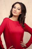 Picture of beautiful woman in red dress Stock Photos