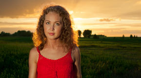 Picture of beautiful woman in red dress Royalty Free Stock Photos
