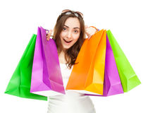 Picture of a beautiful woman with shopping bags Stock Images