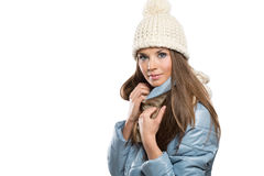Picture of beautiful woman in winter hat.  royalty free stock images