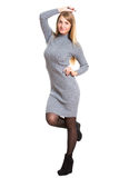 Picture of beautiful woman in wool dress. Isolated Stock Photos