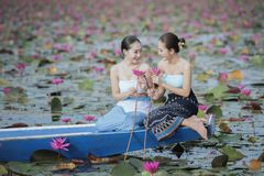 Beautiful lotus flower field at the red lotus sea Stock Images
