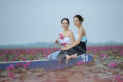Beautiful lotus flower field at the red lotus sea Royalty Free Stock Images