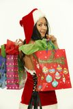 Christmas woman with gifts stock photos
