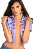 Picture of beautiful young girl in sexy casual clothes front view Royalty Free Stock Images